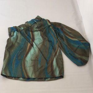 deja vu designs Shirts & Tops - Mini Fashionista One Shoulder Retro Print Top